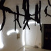 Daniela Corbascio, Call your father, burned pine branches, neon, site specific installation, variable dimensions, 2013.